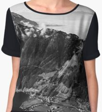 Panoramic aerial view to Luzern lake from high peak, Switzerland Chiffon Top