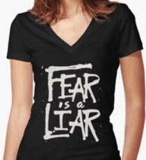 Fear is a Liar - Inspirational Christian Women's Fitted V-Neck T-Shirt