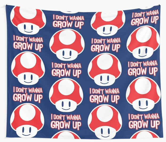 Mario Mushroom - I Don't Want to Grow Up (Happy Face) by Candywrap Design