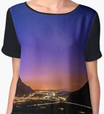 Night road traffic view after sunset in mountains, nightscene, Switzerland Chiffon Top