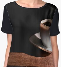 White cup of hot coffee on the table and a deep dark background Women's Chiffon Top