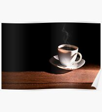 White cup of hot coffee on the table and a deep dark background Poster