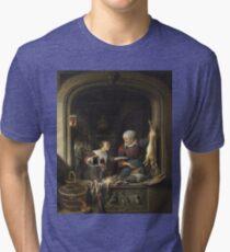 Gerrit Dou - A Poulterers Shop Tri-blend T-Shirt