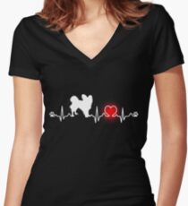 Papillon Shirt Cute Gift For Dad Mom Lady Women Men Love Dog Women's Fitted V-Neck T-Shirt