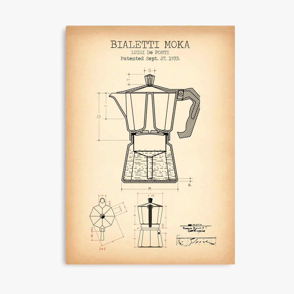 The patent for the moka pot showing the dimensions and the proportions.