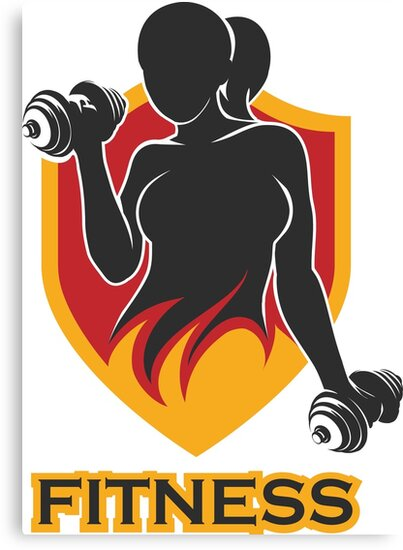 Fitness Emblem with training girl and shield by devaleta