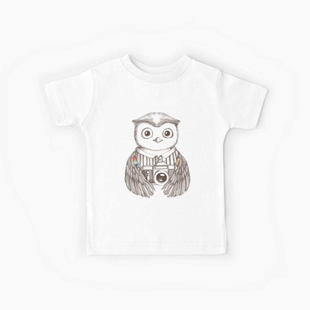 Eule mit Kamera zeichnen Kinder T-Shirt