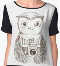 Drawing owl with camera Women's Chiffon Top