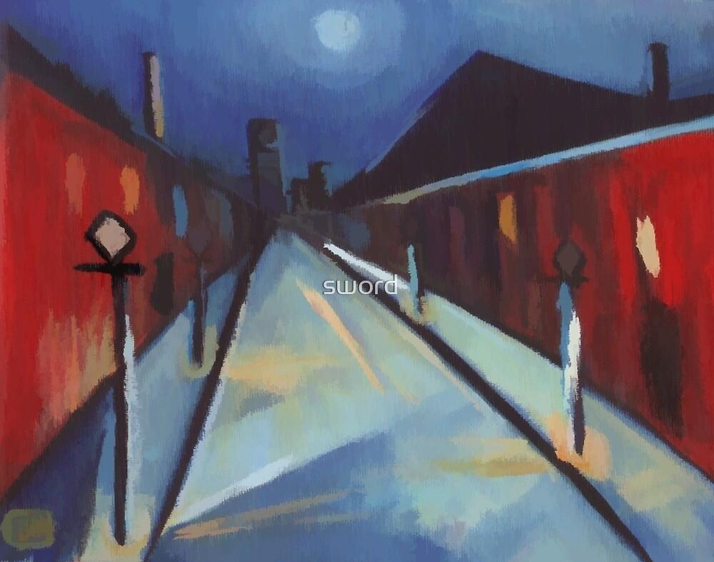 Impressionist street scene by sword