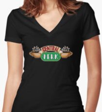 Friends - Central Perk White Outline Variant Women's Fitted V-Neck T-Shirt