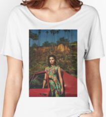 Selena Red Car Gomez Flowers Women's Relaxed Fit T-Shirt