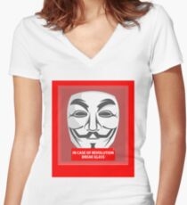 In case of revolution Women's Fitted V-Neck T-Shirt