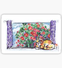 Sumi Kitty and Camellias  Sticker