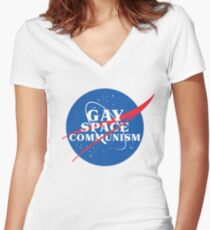 NASA Parody Gay Space Communism Fitted V-Neck T-Shirt