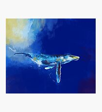 Deep Blue Whale - whale painting, digital art, ocean wildlife Photographic Print