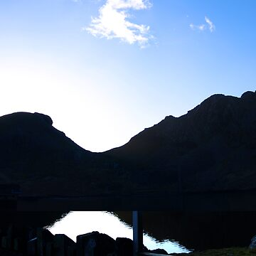 mountain lake silhouette by bilbobagins