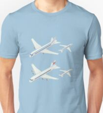 Passenger Airplane. Passenger Airliner. Airplane freight. Isometric Concept. Transportation Mode. Aircraft Vehicle. Set of Planes Unisex T-Shirt