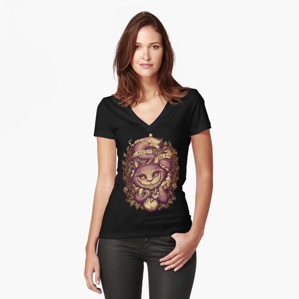 CHESHIRE KATZE Tailliertes T-Shirt mit V-Ausschnitt