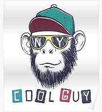 cool monkey chimpanzee dressed in sunglasses Poster