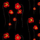 Painted poppies on black background by Adriana Zoon