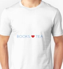 Books Love Tea Blue Lettering with Red Heart Unisex T-Shirt