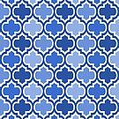 Four Shades Quatrefoil Pattern Bold Blue by Ra12