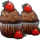 Chocolate Cupcakes with Strawberries, Hand Painted by Joyce Geleynse