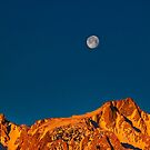 Moonset (at sunrise) over eastern Sierras- Lone Pine, California by David Chesluk
