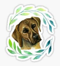 Rhodesian Ridgeback with a Wreath Watercolor Painting Sticker