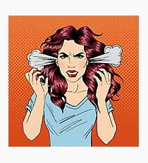 Angry Woman. Furious Girl. Negative Emotions. Bad Days. Bad Mood. Stressful Woman. Comic Background. Pop Art Banner Photographic Print