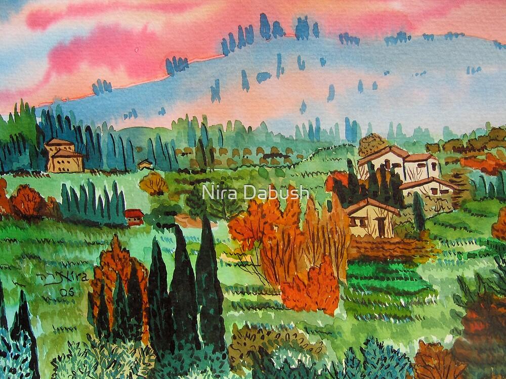 Village In Tuscany by Nira Dabush