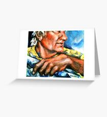 Portrait of Rick, Granite Sculptor Greeting Card