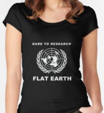 Dare to Research Flat Earth - Flat Earth Theory Map Logo Classic Women's Fitted Scoop T-Shirt