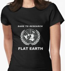 Dare to Research Flat Earth - Flat Earth Theory Map Logo Classic Women's Fitted T-Shirt