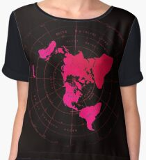 Flat Earth Map - Azimuthal Equidistant Projection Hot Pink Naval Style Design) Women's Chiffon Top