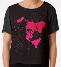 Flache Erde Karte - Azimuthal äquidistante Projektion Pink Naval Style Design) Chiffontop