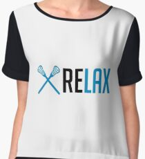 Relax - LAX - Funny Lacrosse Gift Apparel Women's Chiffon Top