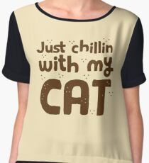 just chillin with my cat Chiffon Top