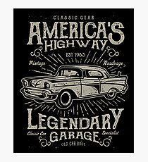 America's Highway Classic Car Photographic Print