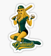 Oakland Baseball Pinup Girl  Sticker