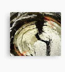 Abstract Energetic Circle in Black and Copper Ink Canvas Print