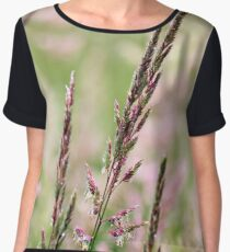 Pink Grass Abstract Women's Chiffon Top