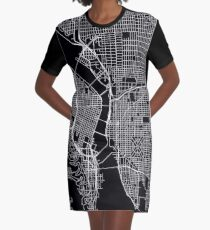 Portland Street Map Graphic T-Shirt Dress