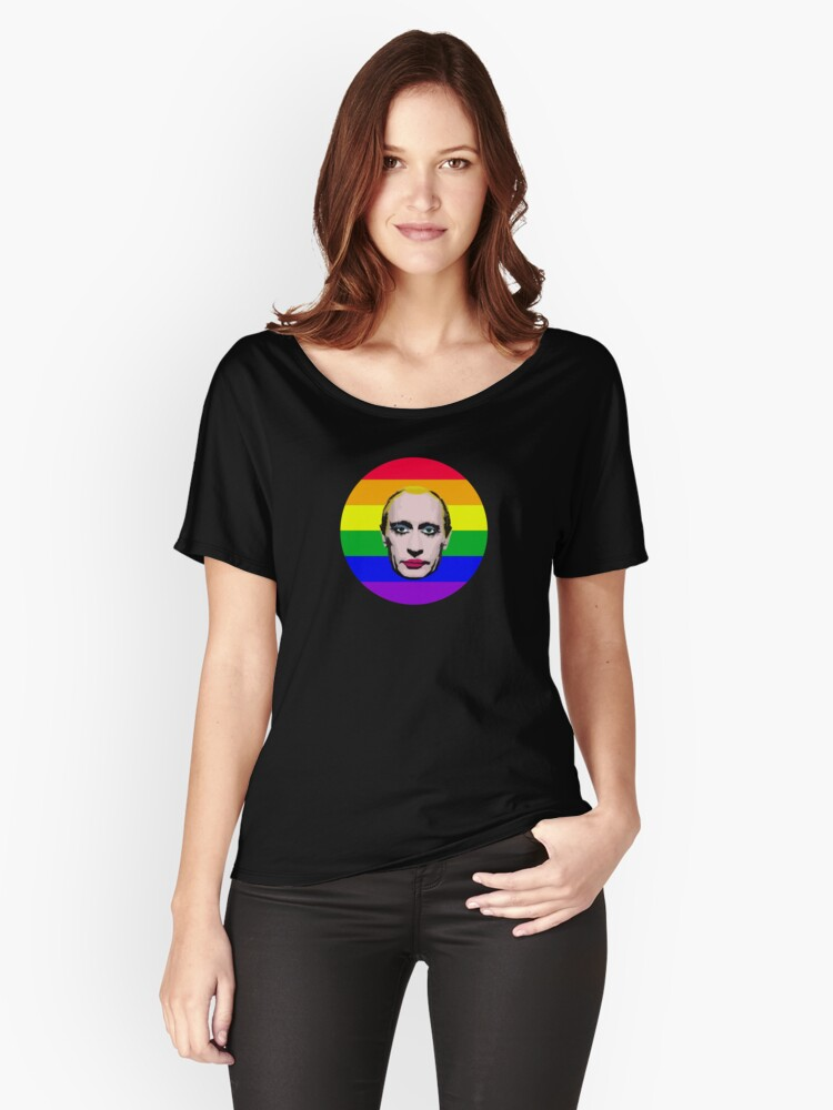 Putin in Makeup Rainbow Women's Relaxed Fit T-Shirt Front