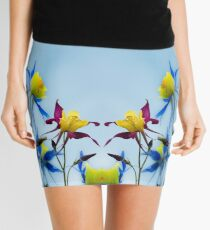 Columbine blossoms in Floral Summer-fresh Yellow Red Purple Mini Skirt