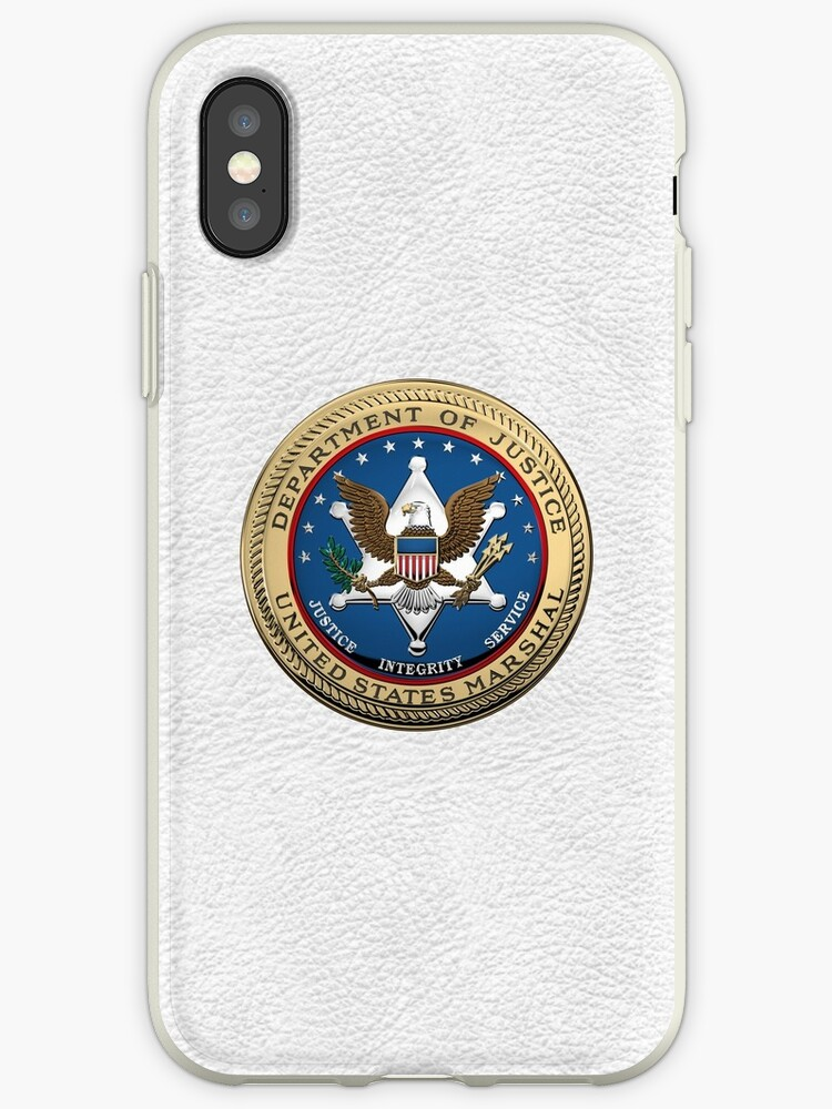 'U S  Marshals Service - USMS Seal over White Leather' iPhone Case by Serge  Averbukh