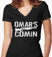 Omar's Comin - The Wire Women's Fitted V-Neck T-Shirt