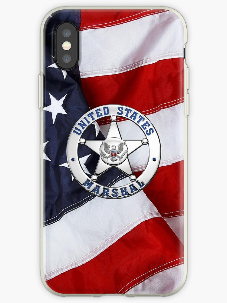 'U S  Marshals Service - USMS Badge over American Flag' iPhone Case by  Serge Averbukh