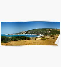 Rolling hills and the ocean Poster