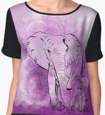 Elephant mother and baby Chiffon Top